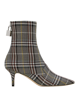 Lock Plaid Booties, CHARCOAL, hi-res