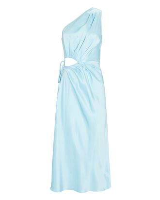 Satin One-Shoulder Midi Dress, LIGHT BLUE, hi-res