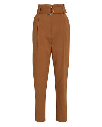 Diego Tapered Paperbag Trousers, BROWN, hi-res