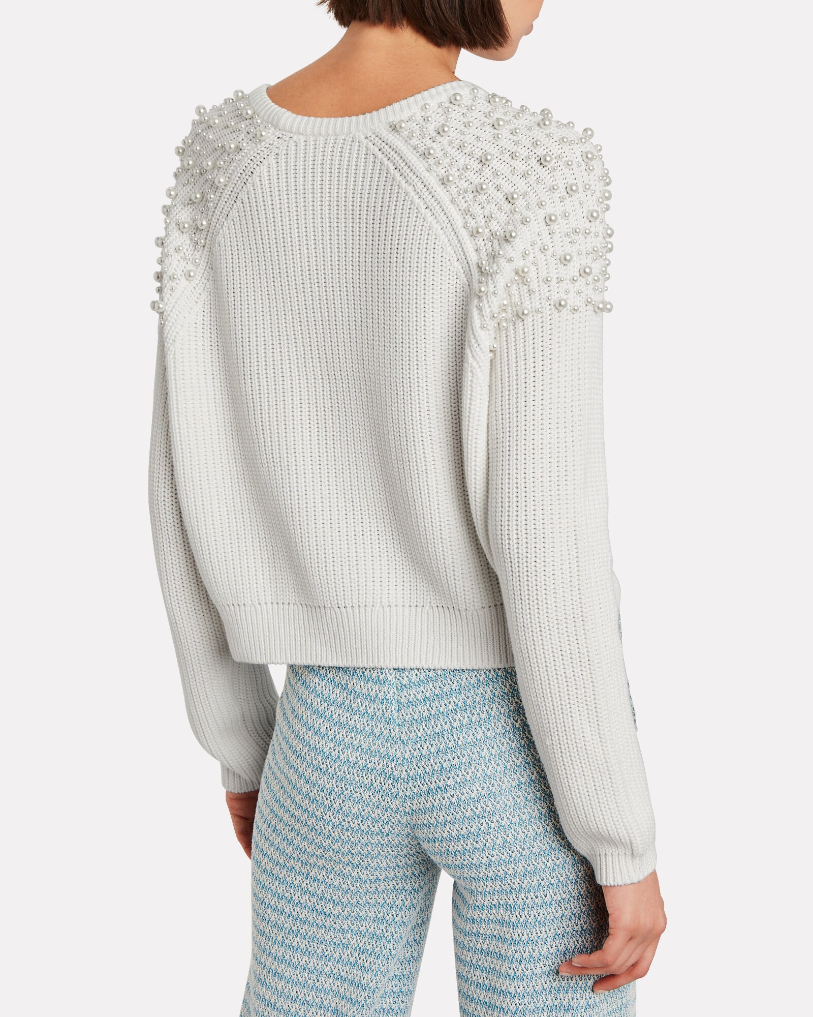 Faux Pearl-Embellished Cotton Sweater, IVORY, hi-res