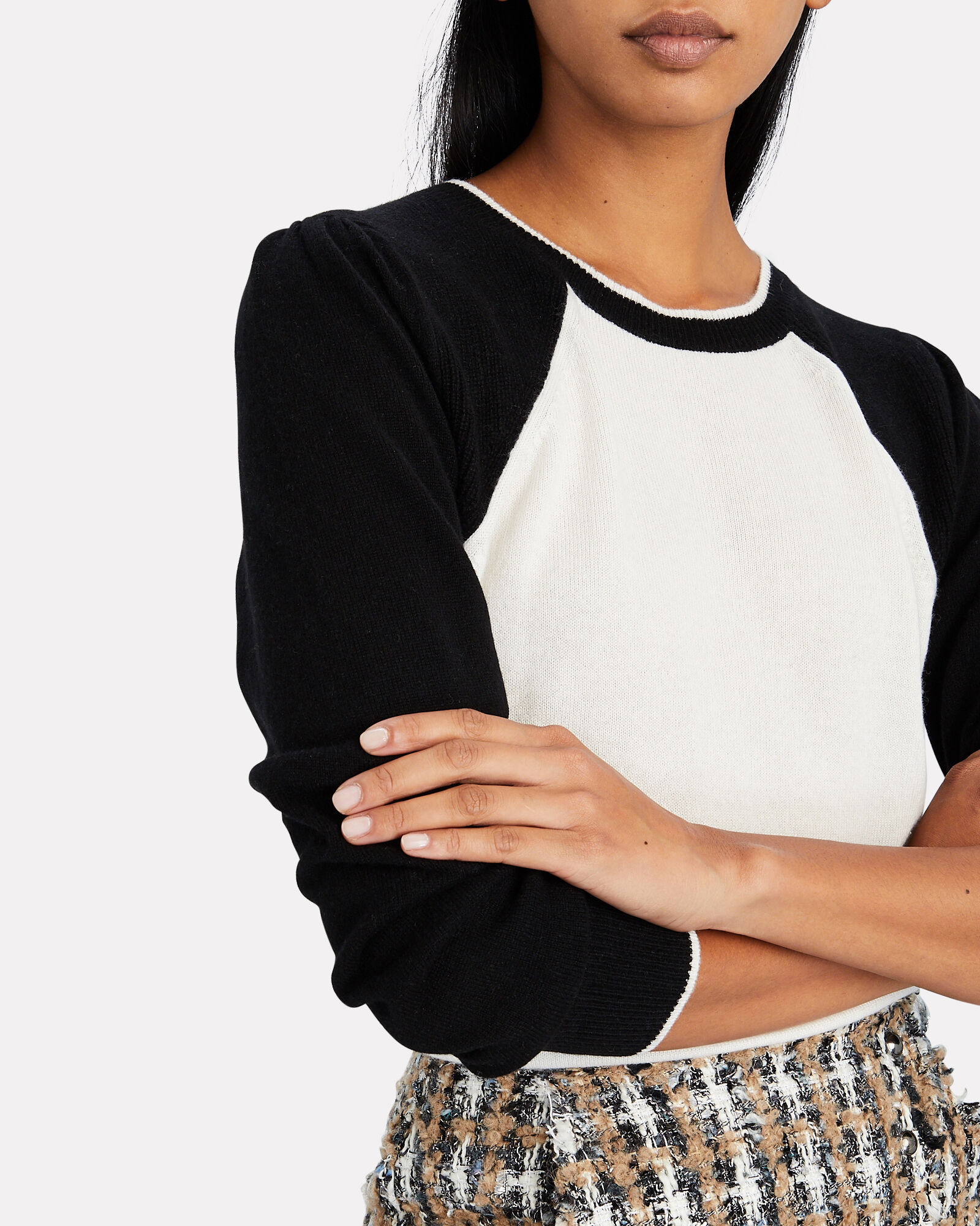 Albertina Cashmere Sweater, WHITE/BLACK, hi-res
