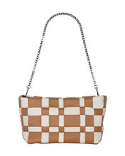 Odita Lattice Woven Leather Pouch, CAMEL/WHITE, hi-res