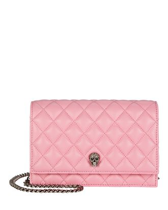 Small Skull Quilted Leather Crossbody Bag, PINK, hi-res