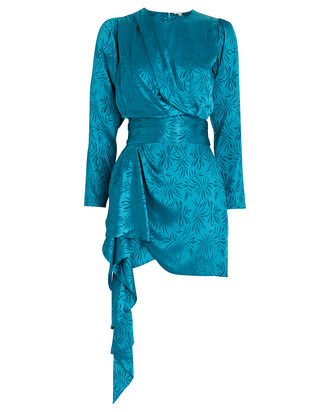 Santana Satin Jacquard Mini Dress, BLUE-MED, hi-res