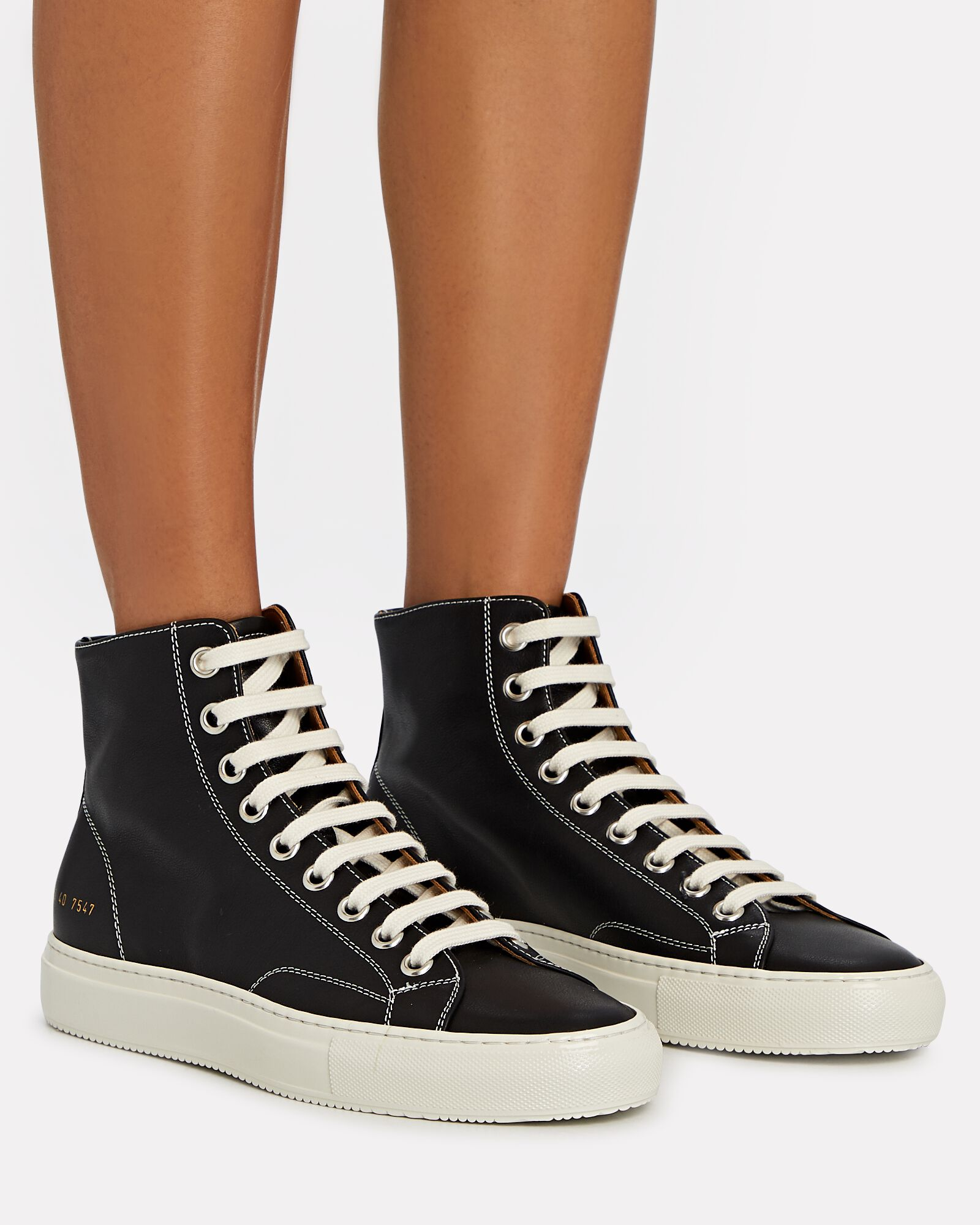 Tournament High-Top Leather Sneakers, BLACK, hi-res