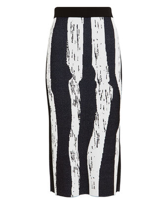 Knit Brush Stroke Jacquard Skirt, BLUE/BLACK, hi-res