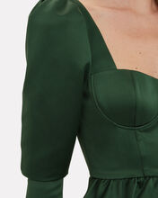 Asymmetric Duchess Satin Top, EMERALD, hi-res