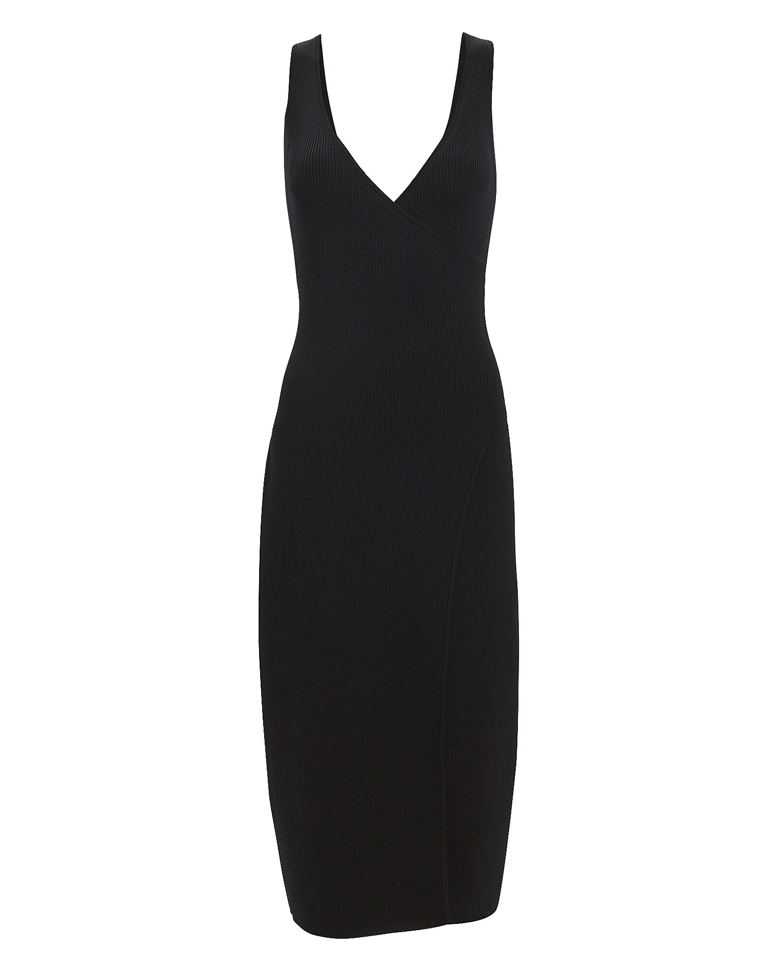Rib Knit Wrap Dress, BLACK, hi-res
