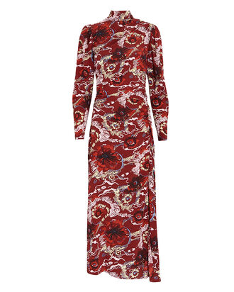 Isabella Floral Silk High Neck Dress, BURGUNDY, hi-res