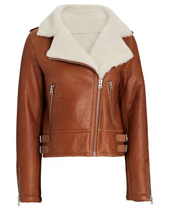 Shearling Lined Leather Aviator Jacket, BROWN, hi-res