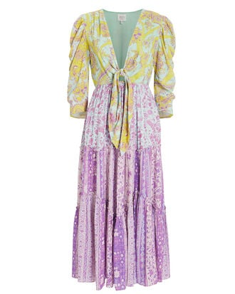Layla Paisley Midi Dress, YELLOW/PURPLE PAISLEY, hi-res