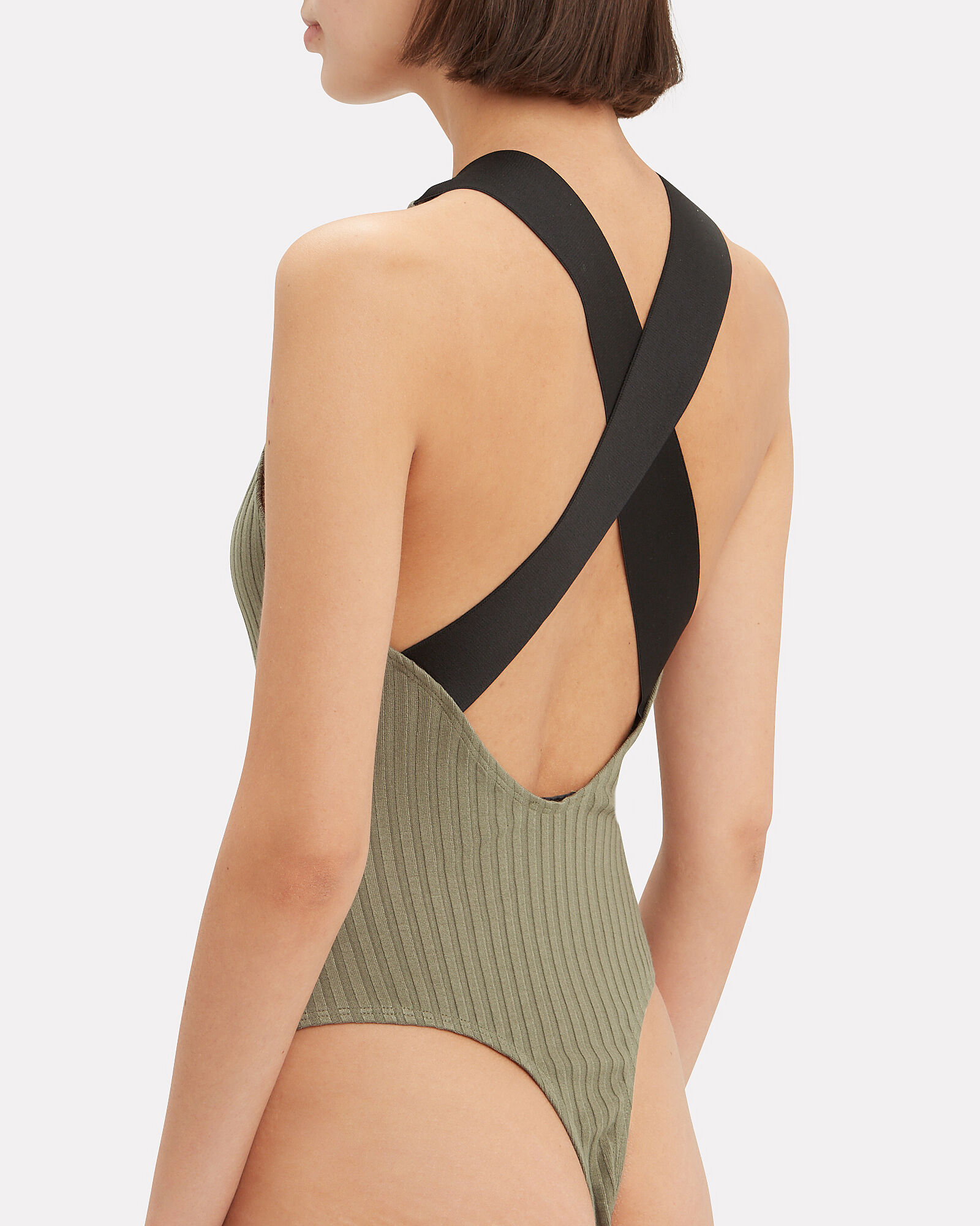Wide Ribbed Bodysuit, OLIVE/ARMY, hi-res