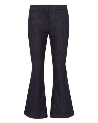 Denim Crop Flare Trousers, DENIM-DRK, hi-res