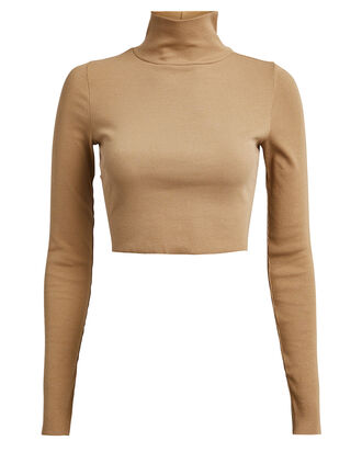 Ribbed Cropped Turtleneck, BEIGE, hi-res