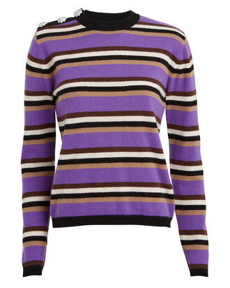 Striped Cashmere Sweater, AMETHYST/STRIPE, hi-res