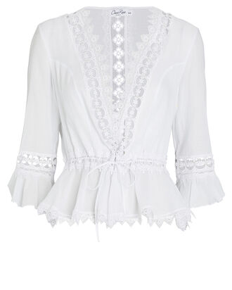 Edda Lace-Trimmed Chiffon Jacket, WHITE, hi-res