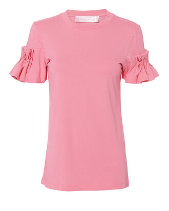 Pink Pleated Sleeve T-Shirt, PINK, hi-res