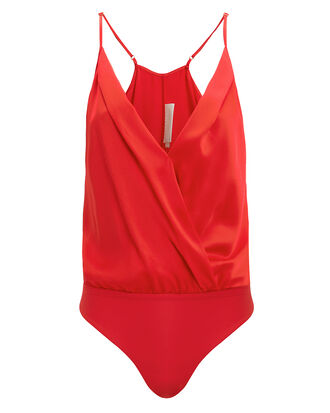 Red Cami Bodysuit, RED, hi-res