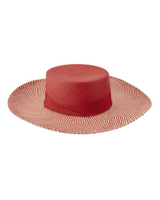Cordovez Two Tone Brim Boater Hat, RED, hi-res