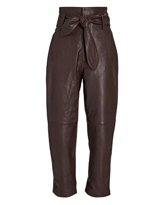 Brennan Tie-Waist Leather Pants, DARK BROWN, hi-res