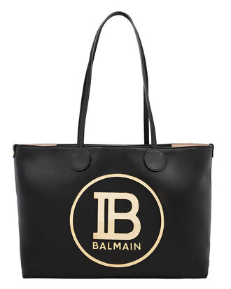 Logo Leather Shopping Tote, BLACK, hi-res