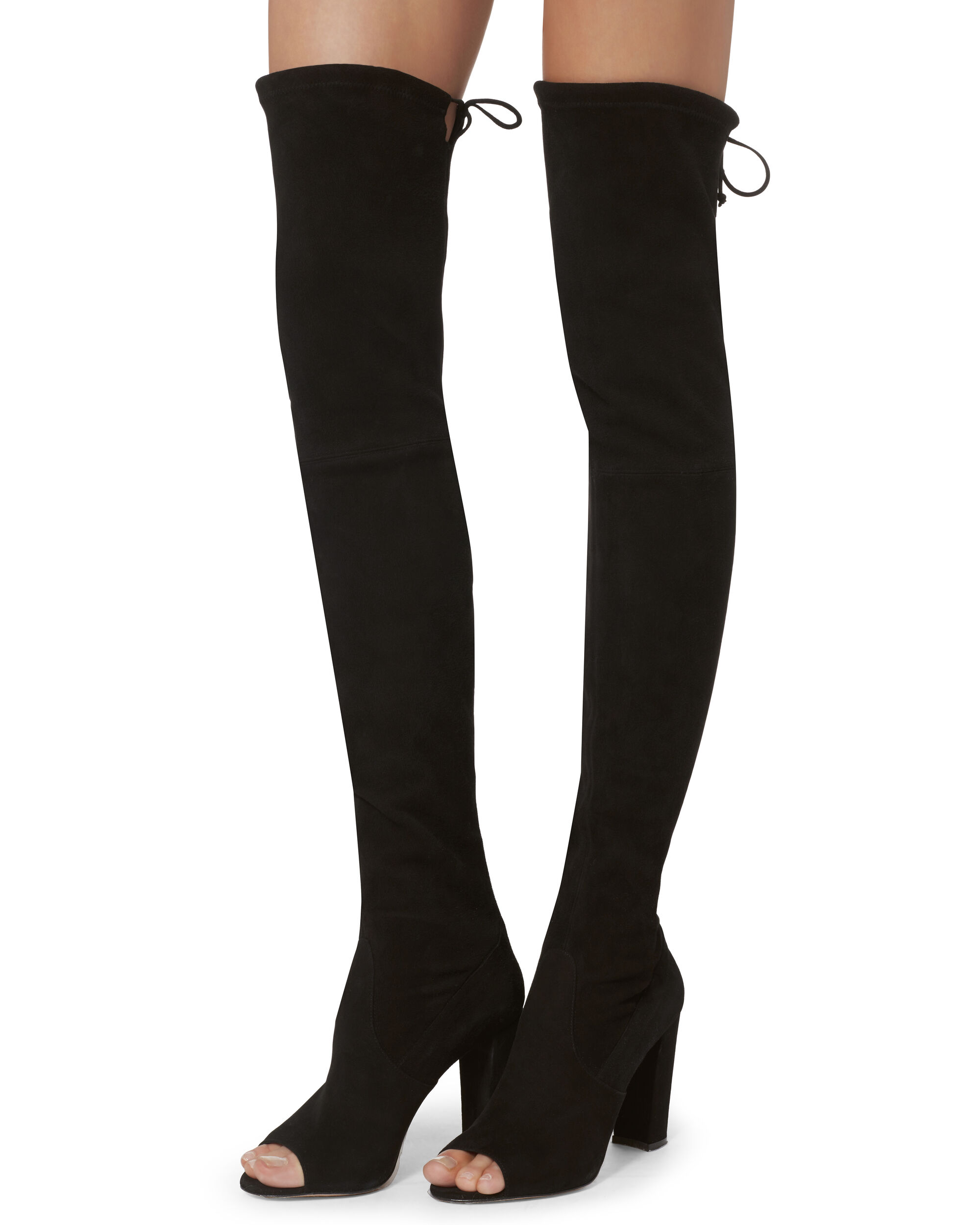 Ostia Suede Open Toe Over-The-Knee Boots, BLACK, hi-res
