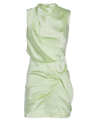 Jasper Draped Satin Mini Dress, MINT, hi-res