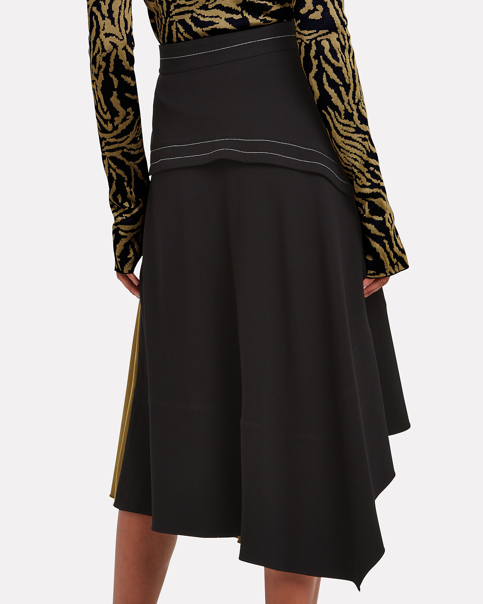 Layered Pleated Colorblock Skirt, BLACK/WHITE/OLIVE, hi-res