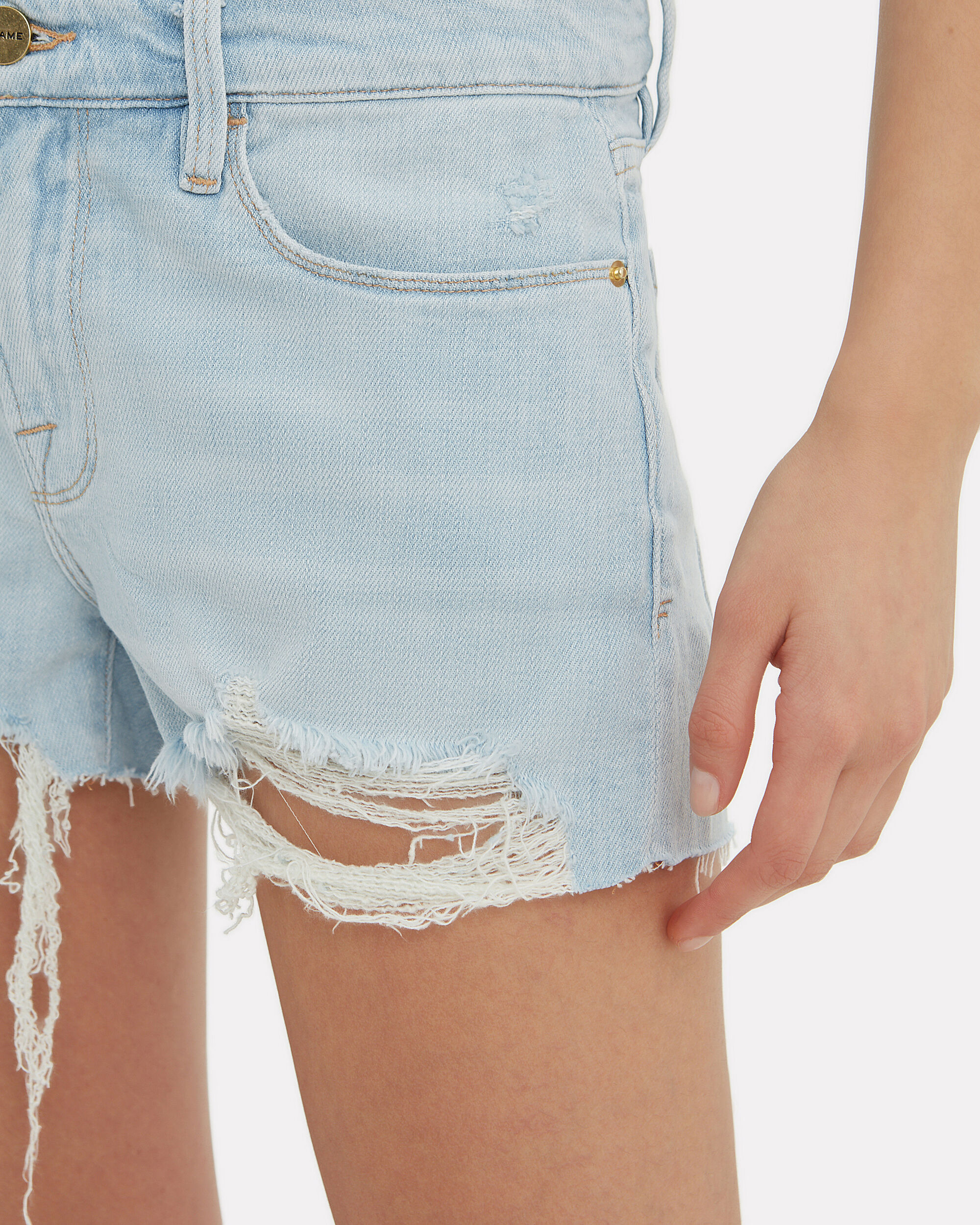Le Cut-Off Hurrah Denim Shorts, LIGHT BLUE DENIM, hi-res