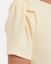 Sweet Like Honey Ribbed Cut-Out Top, BUTTER, hi-res