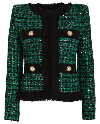 Sequin-Embellished Tweed Jacket, EMERALD, hi-res