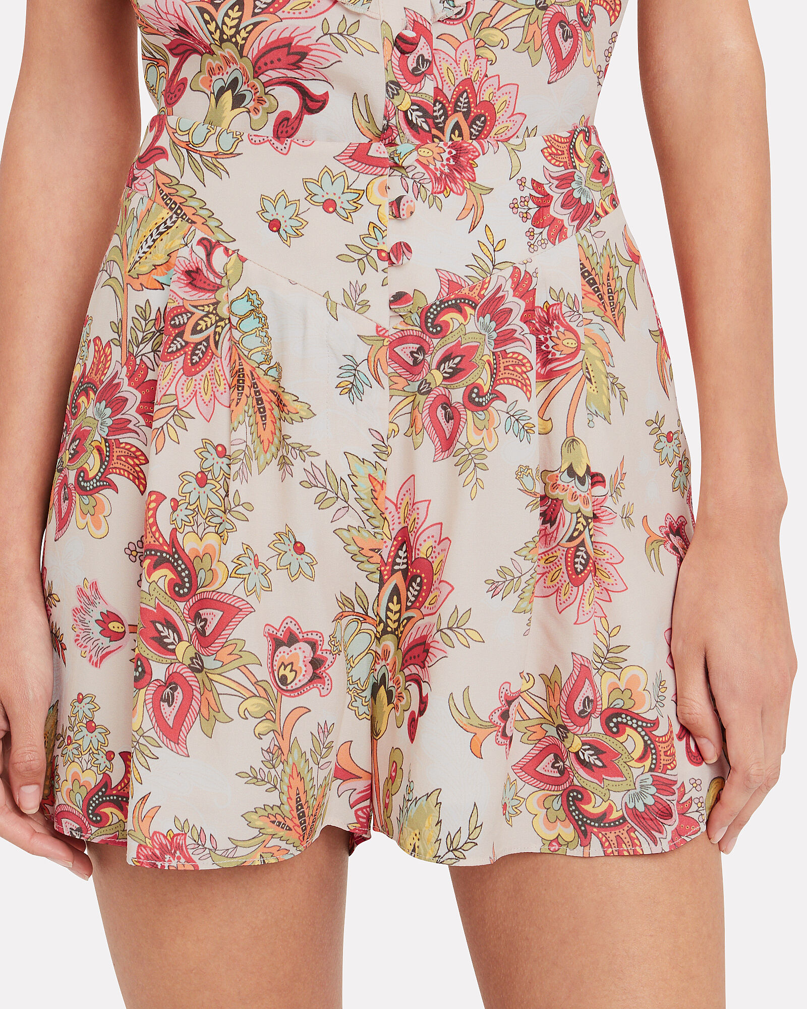 Paisley High-Waist Shorts, MULTI, hi-res