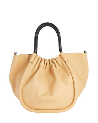Ruched S Leather Tote, BEIGE, hi-res