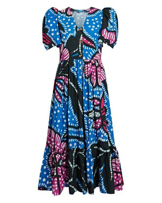 Nisha Printed Poplin Midi Dress, BLUE/PURPLE, hi-res