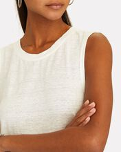 Swingy Linen Muscle Tank Top, WHITE, hi-res