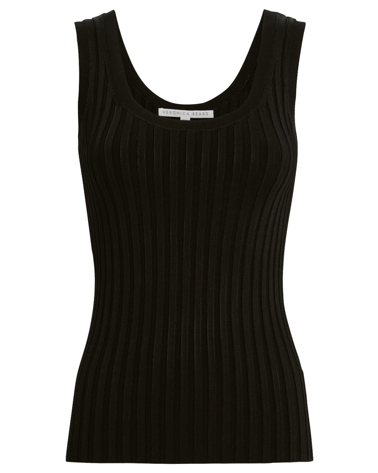 Sandra Ribbed Tank Top, BLACK, hi-res