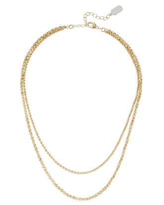 Dual Layer Twisted Chain Necklace, GOLD, hi-res