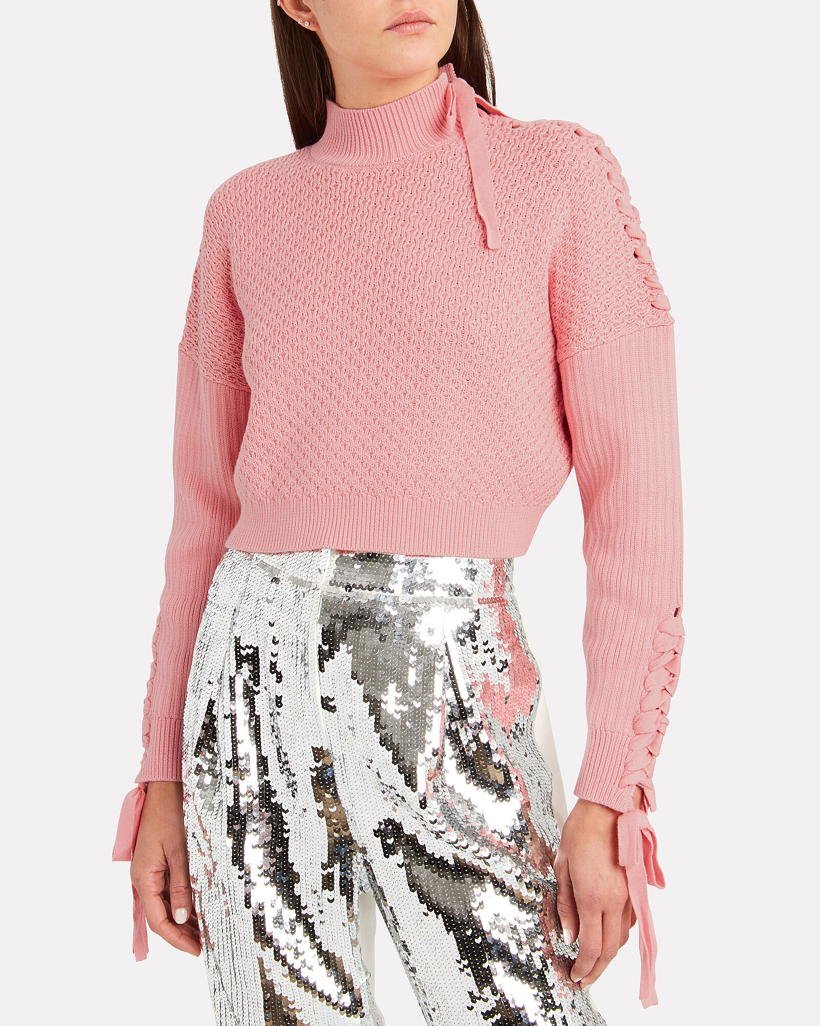Lace-Up Honeycomb Knit Sweater, PINK, hi-res