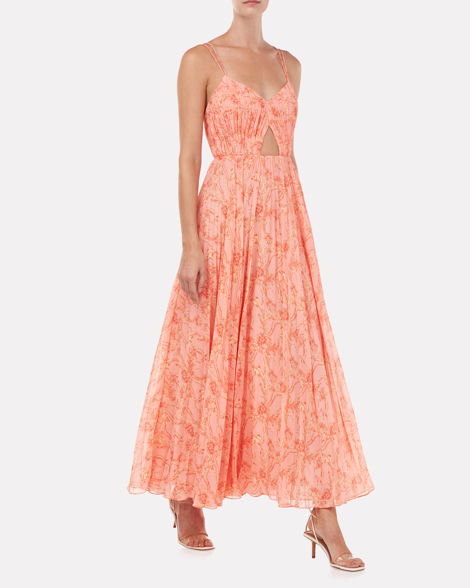 Lucy Pleated Midi Dress, CORAL, hi-res