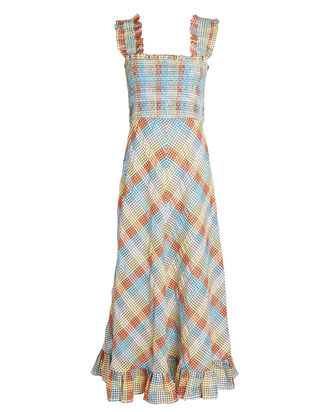 Checked Cotton-Blend Midi Dress, BLUE/ORANGE, hi-res