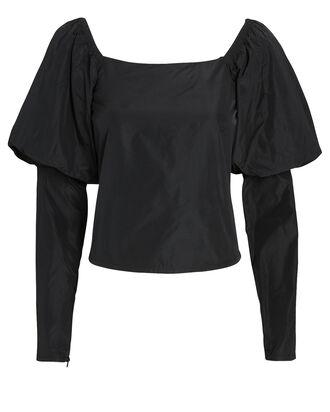 Elsa Taffeta Puff Sleeve Top, BLACK, hi-res