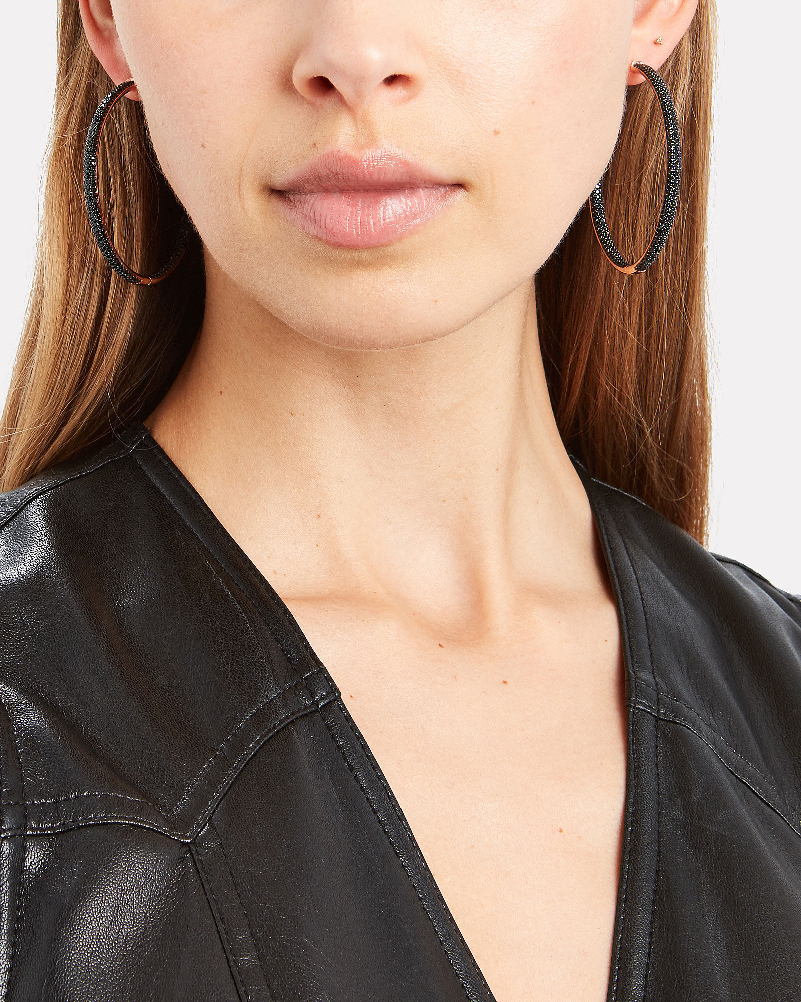 Statement Crystal Hoop Earrings, ROSE GOLD/BLACK, hi-res