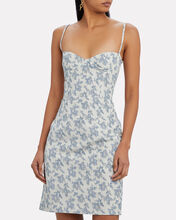 Floral Moiré Bustier Dress, BLUE-LT, hi-res
