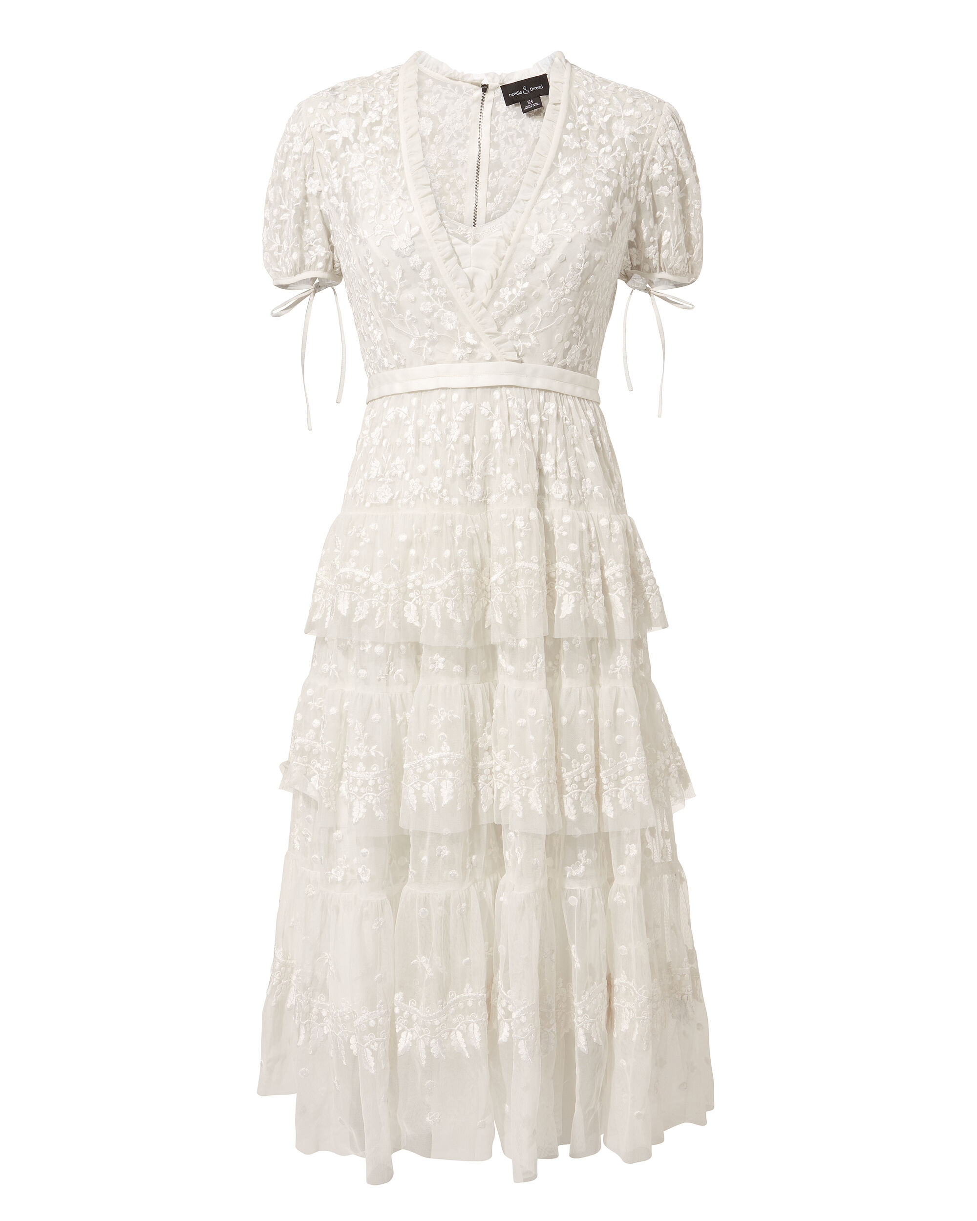 Layered Lace Midi Dress, IVORY, hi-res