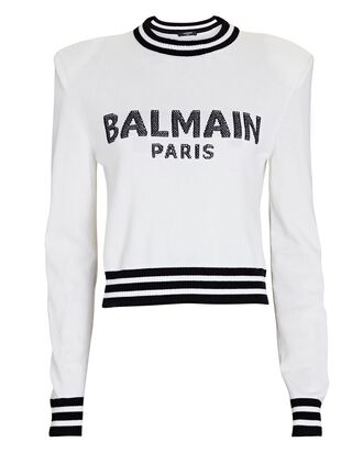 Cropped Wool-Cashmere Logo Sweater, WHITE, hi-res