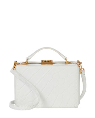 Grace Mini Croc-Embossed Box Bag, WHITE, hi-res