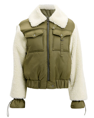 Madeline Faux Fur Bomber Jacket, ARMY/IVORY, hi-res