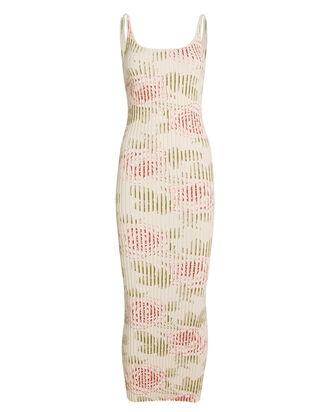 Ribbed Rose-Print Maxi Dress, IVORY/FLORAL, hi-res