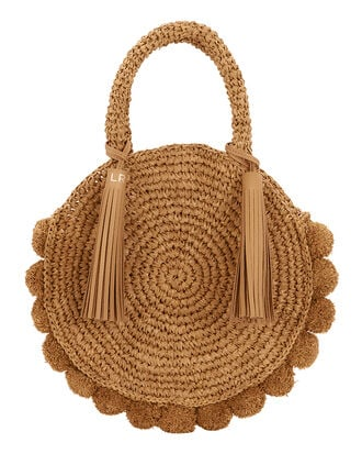 Straw Circle Tote, BROWN, hi-res