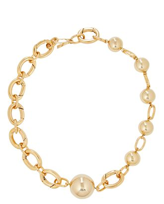 Solar Chain-Link Necklace, GOLD, hi-res